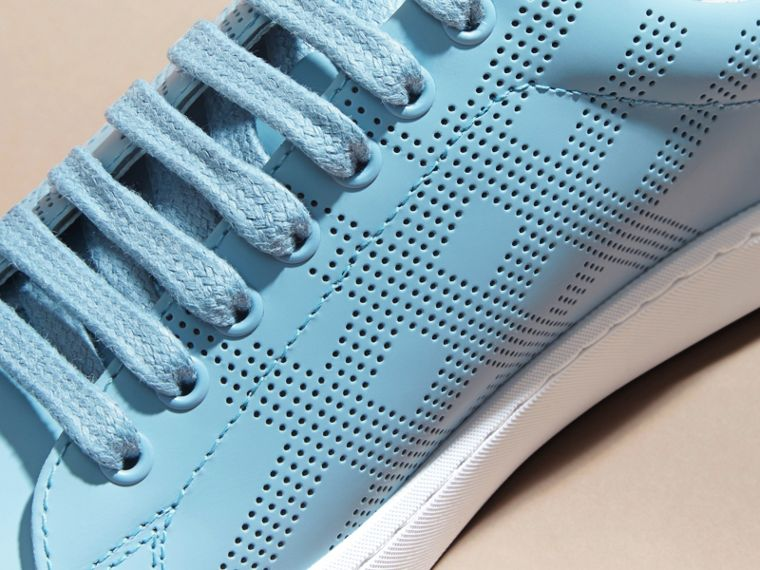 Powder blue Perforated Check Leather Trainers Powder Blue - cell image 1