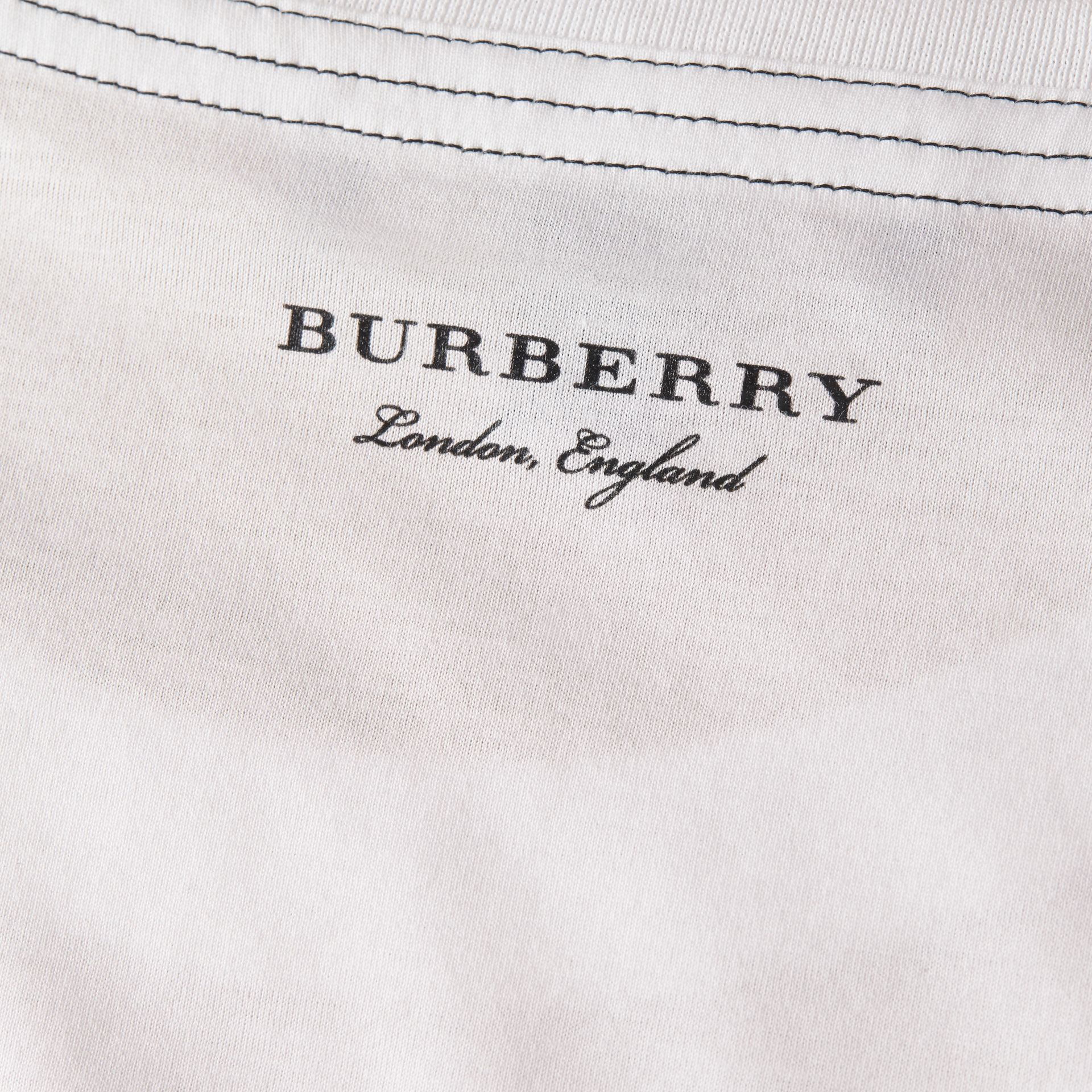 White Topstitch Detail Cotton T-shirt White - gallery image 3