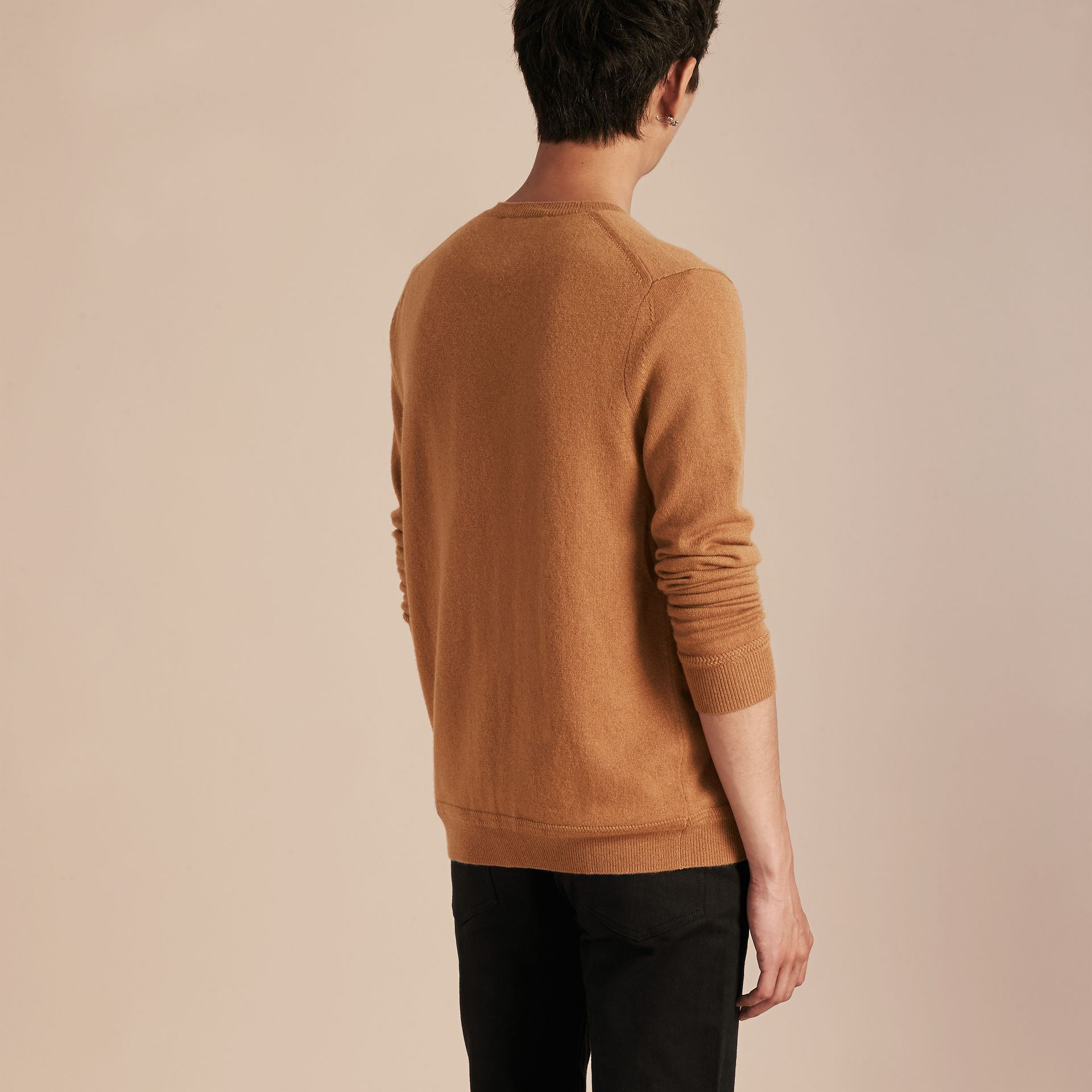 V-Neck Cashmere Cardigan in Mid Camel - gallery image 3