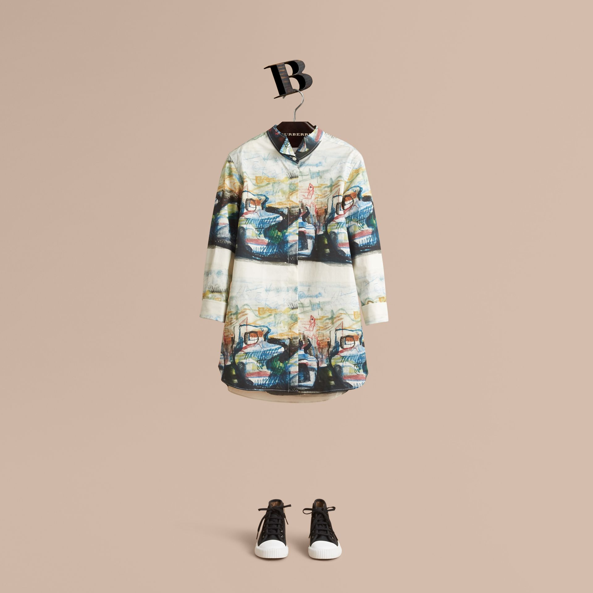 Reclining Figure: Bunched Print Shirt Dress - Girl | Burberry - gallery image 1