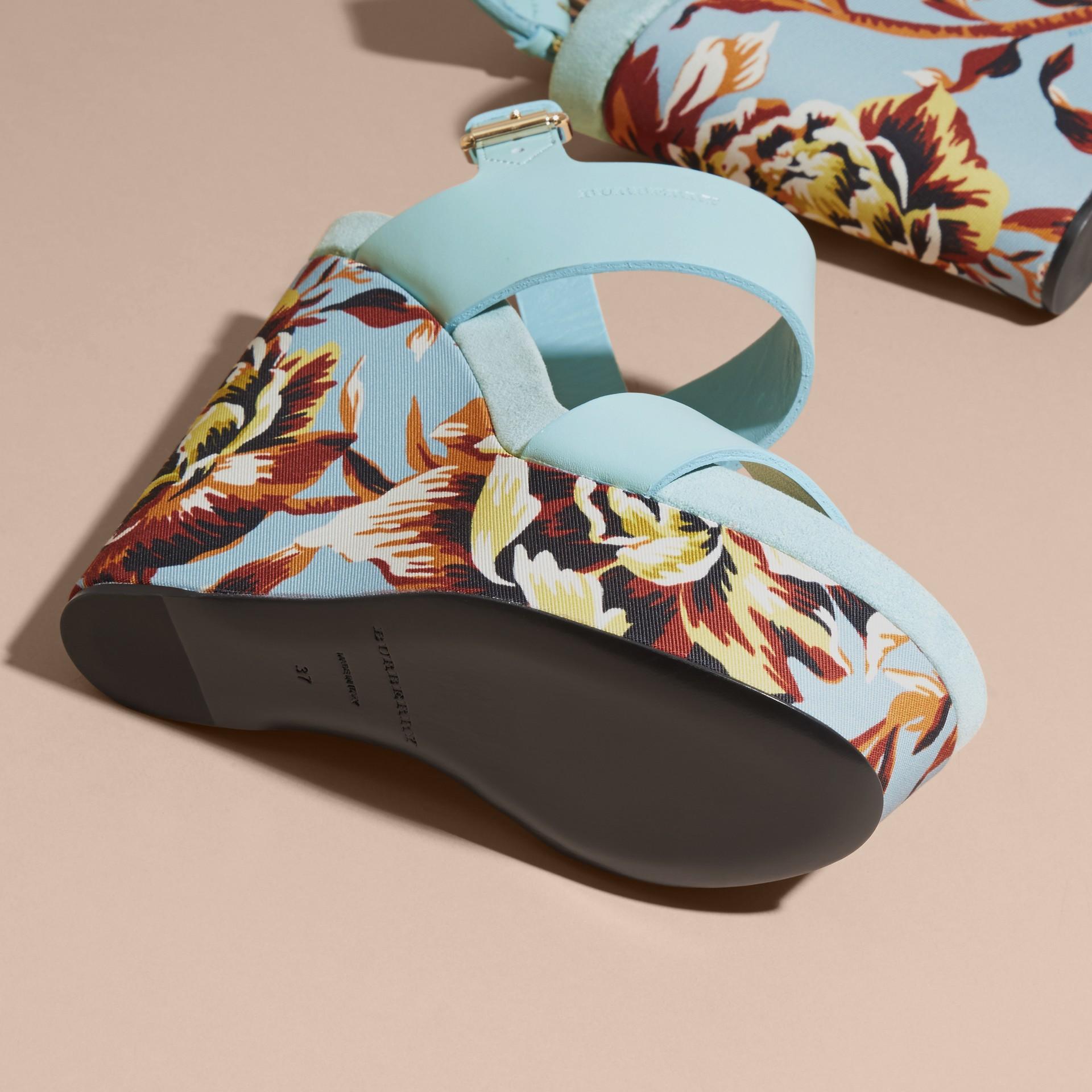 Peony Rose Print Leather Platform Wedges Vibrant Orange - gallery image 5
