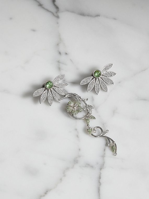 Crystal Half-daisy Drop Earring and Stud Set  in Peridot Green