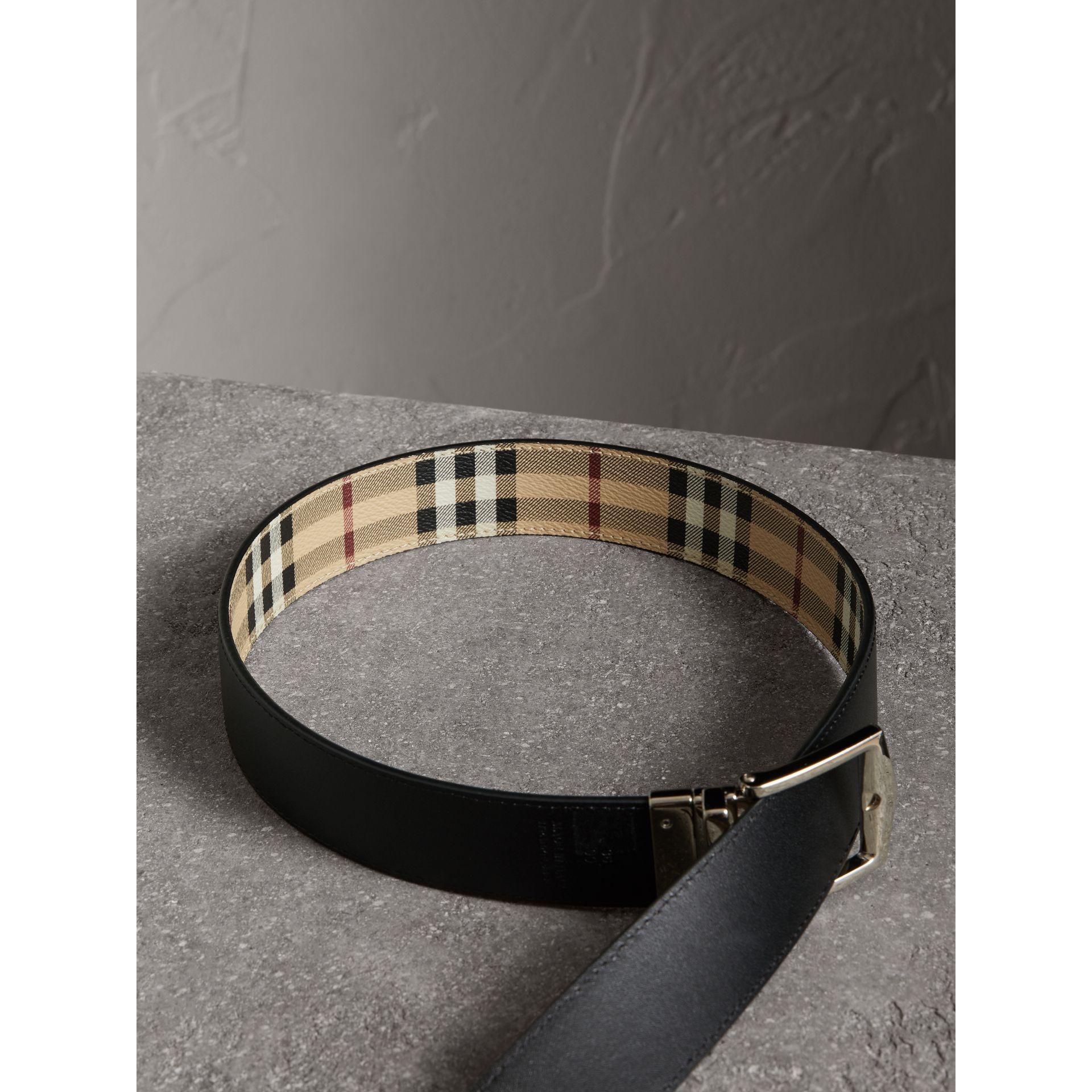 Reversible Haymarket Check and Leather Belt in Black - Men | Burberry Canada - gallery image 6