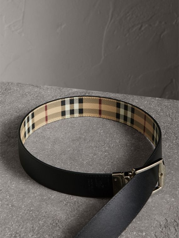 Reversible Haymarket Check and Leather Belt in Black - Men | Burberry - cell image 3