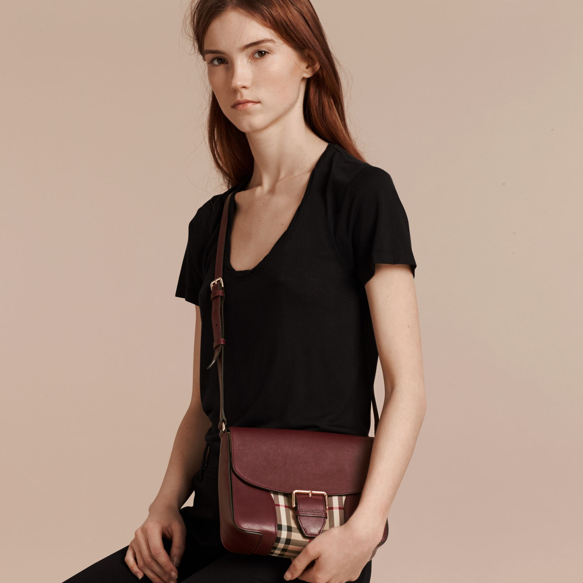 Honey/deep claret Small Horseferry Check and Leather Crossbody Bag Honey/deep Claret - gallery image 3