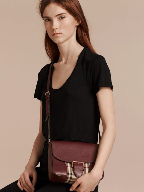 Honey/deep claret Small Horseferry Check and Leather Crossbody Bag Honey/deep Claret - cell image 2