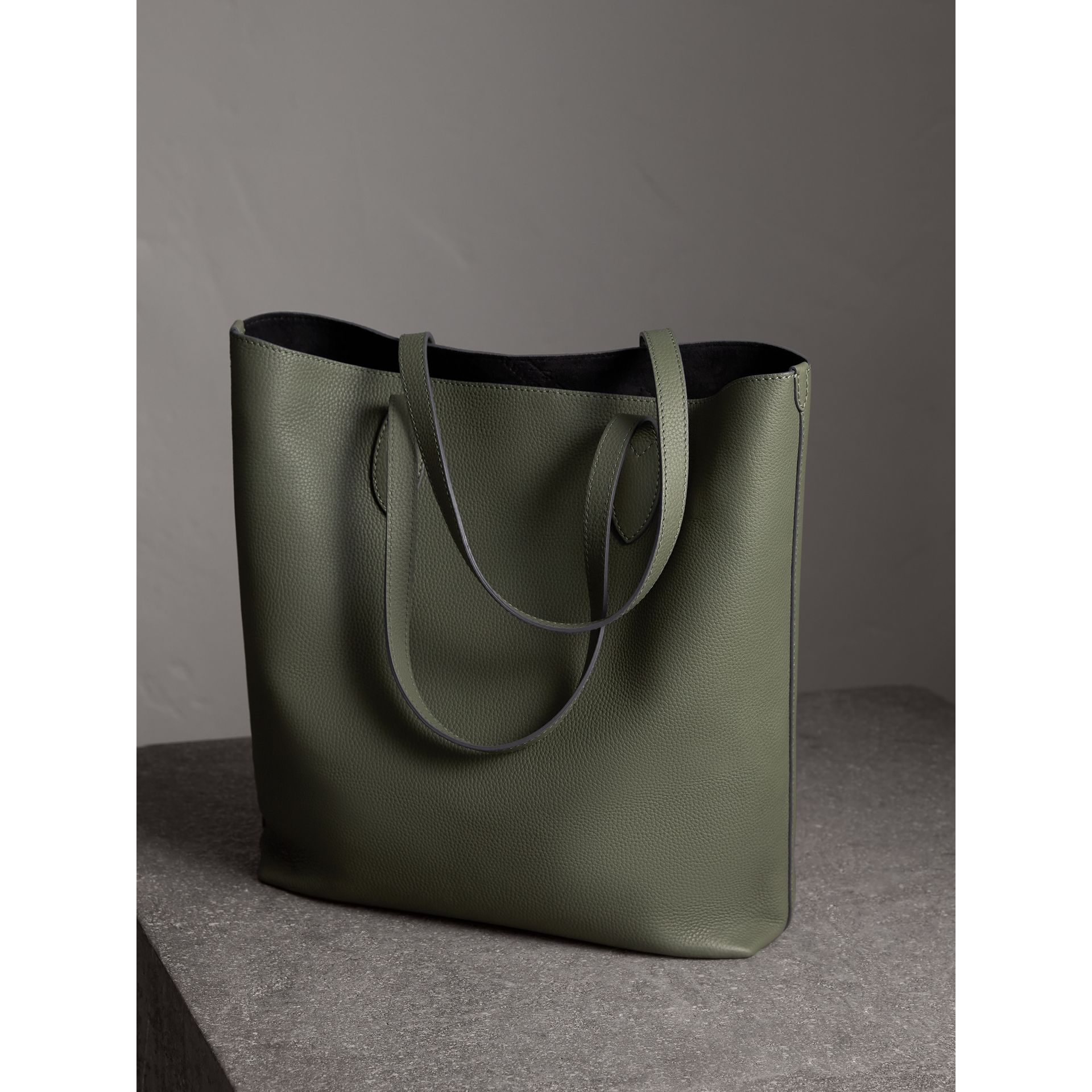 Medium Embossed Leather Tote in Slate Green | Burberry - gallery image 4