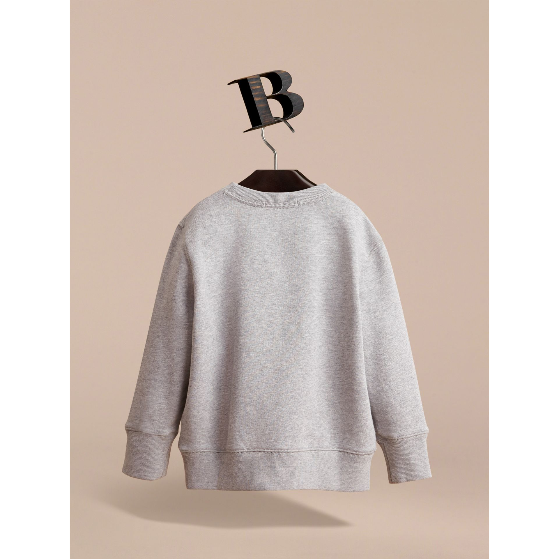 Embroidered Cotton Jersey Sweatshirt in Grey Melange - Boy | Burberry Canada - gallery image 4