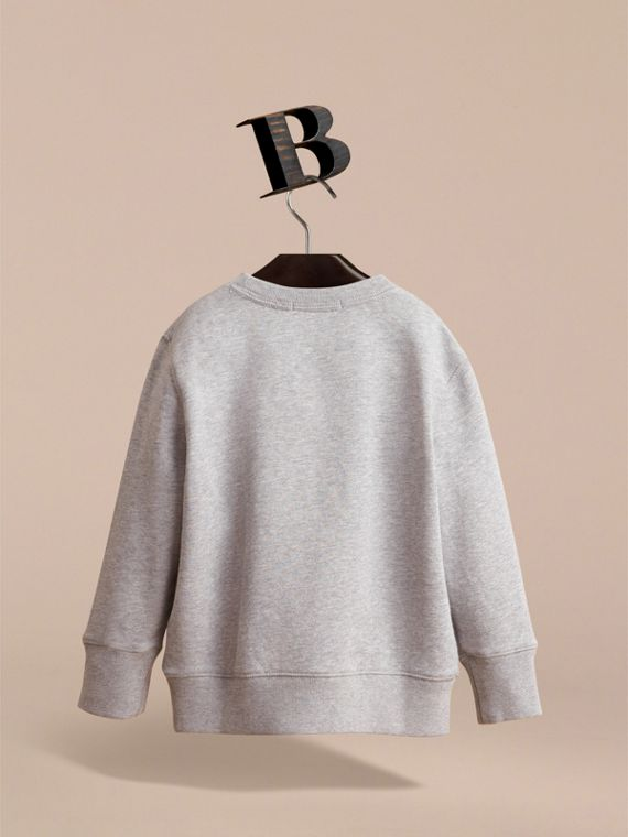 Embroidered Cotton Jersey Sweatshirt in Grey Melange - Boy | Burberry - cell image 3