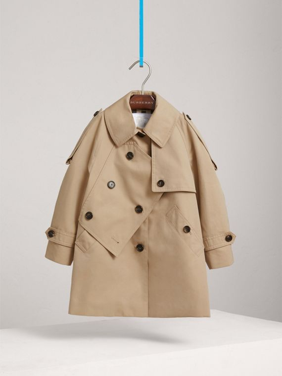Panel Detail Cotton Gabardine Trench Coat in Honey - Girl | Burberry - cell image 2