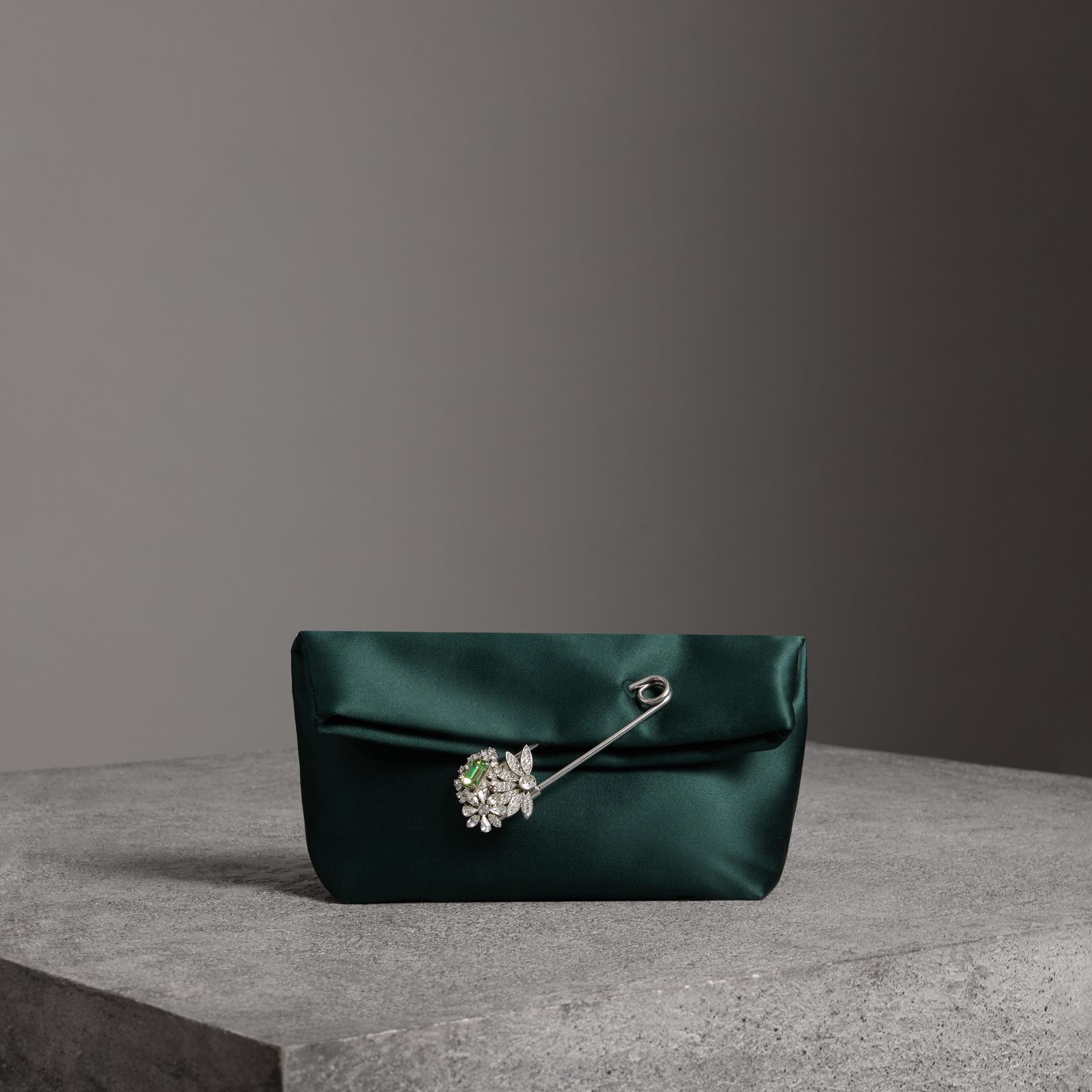 The Small Pin Clutch in Satin in Dark Forest Green - Women | Burberry Canada - gallery image 0