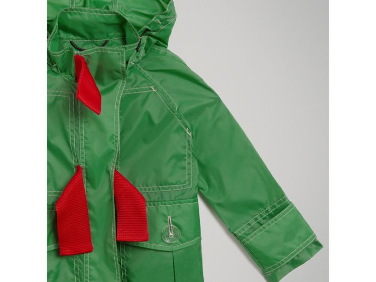 Tape Detail Rain Jacket in Bright Pigment Green - Girl | Burberry - cell image 4