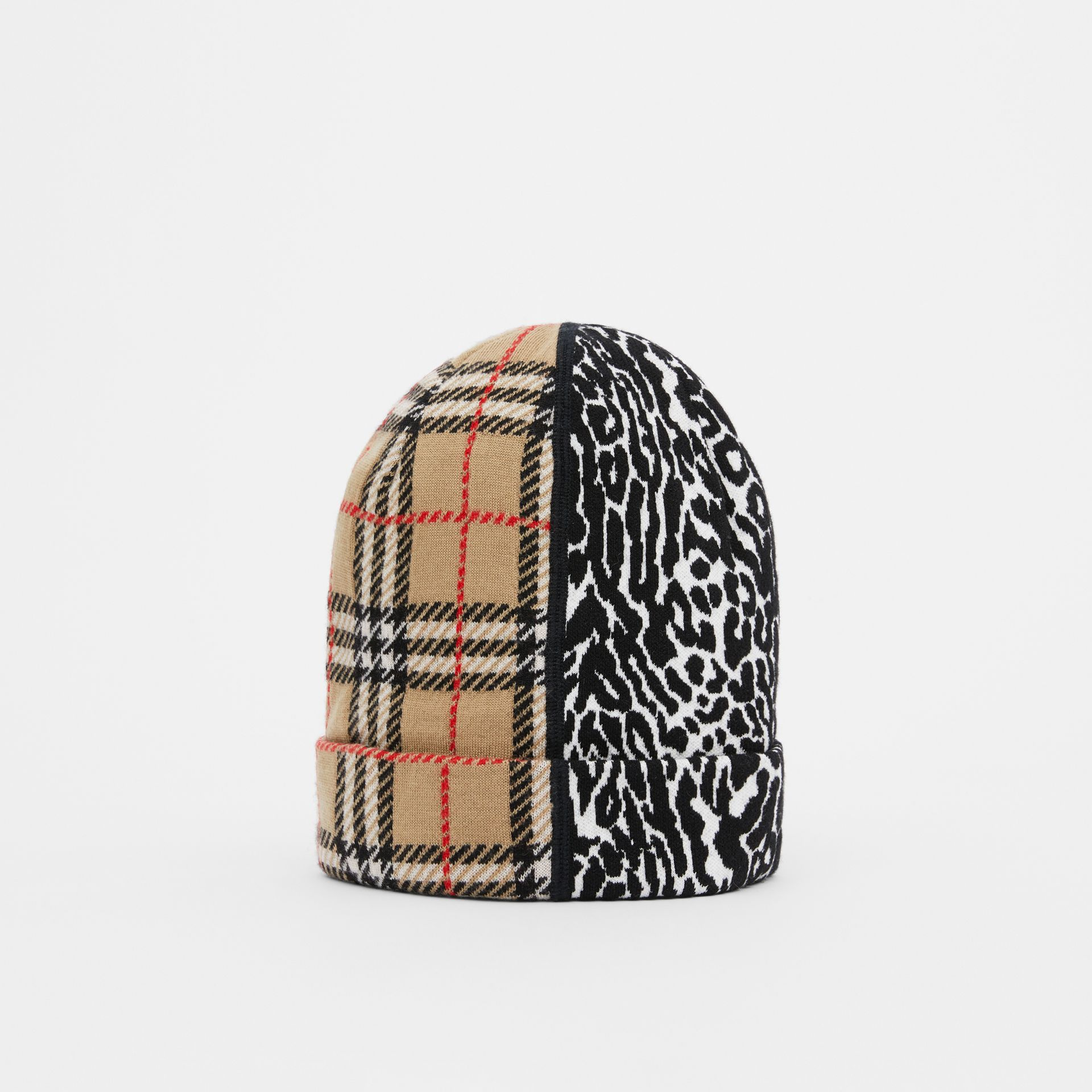 Check and Leopard Merino Wool Jacquard Beanie in Print - Children | Burberry United Kingdom - gallery image 0