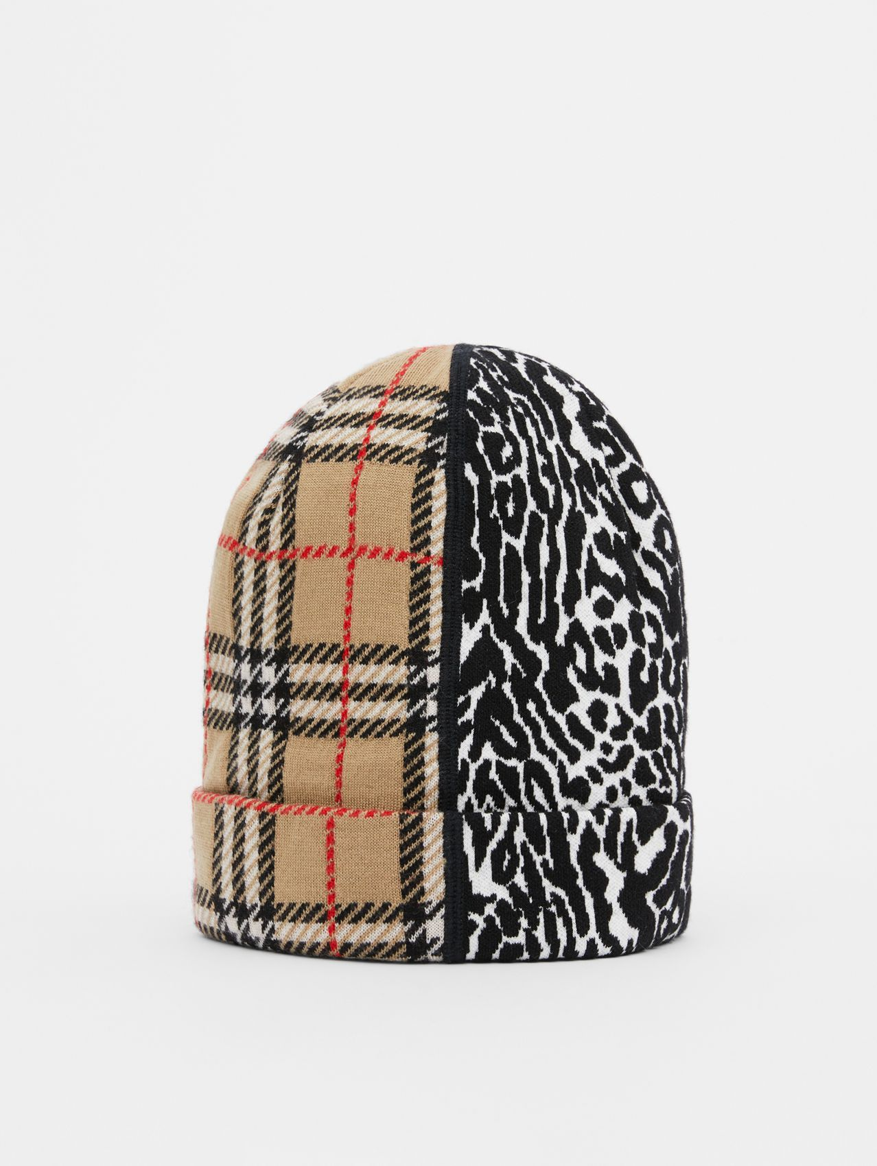 Check and Leopard Merino Wool Jacquard Beanie in Print