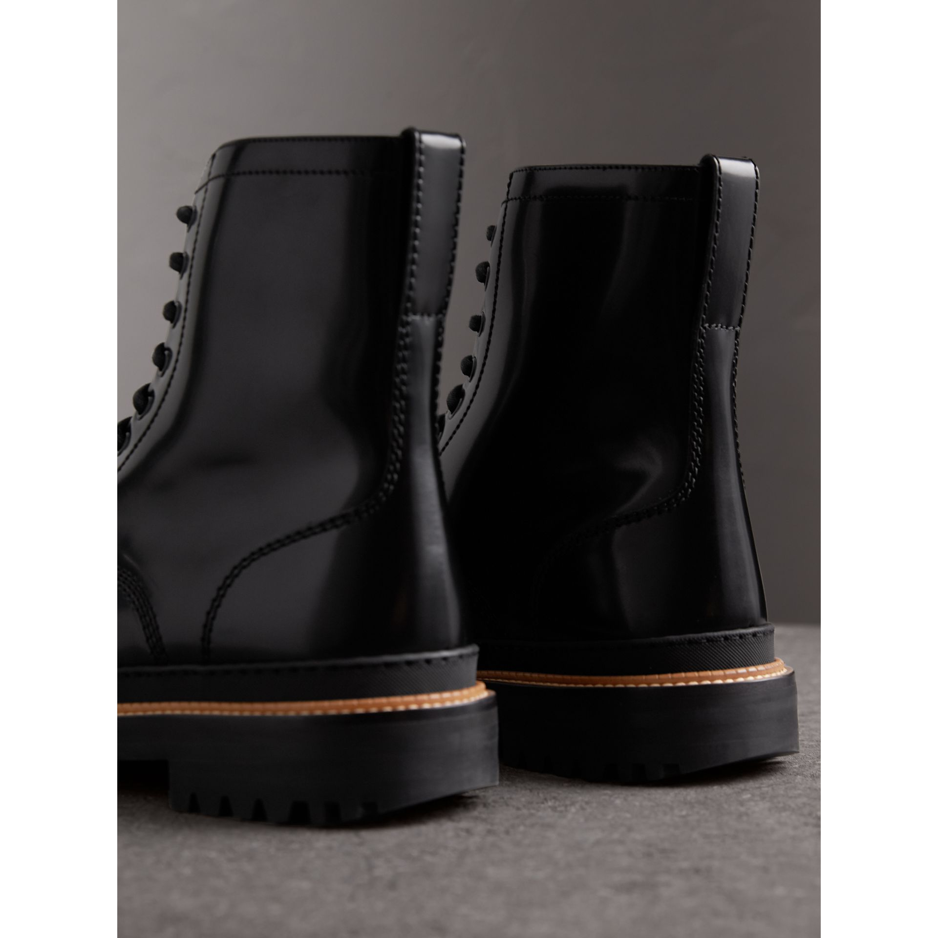 Lace-up Polished Leather Boots in Black - Men | Burberry - gallery image 3