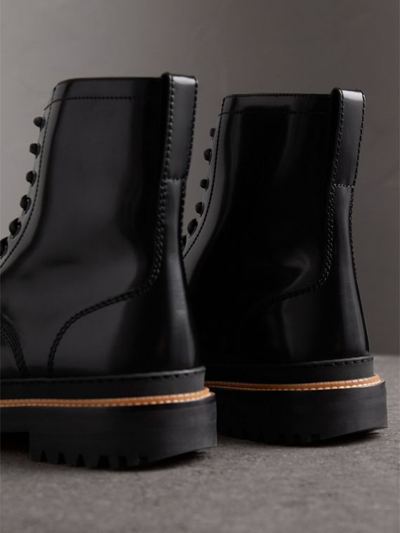 Lace-up Polished Leather Boots in Black - Men | Burberry Australia - cell image 2