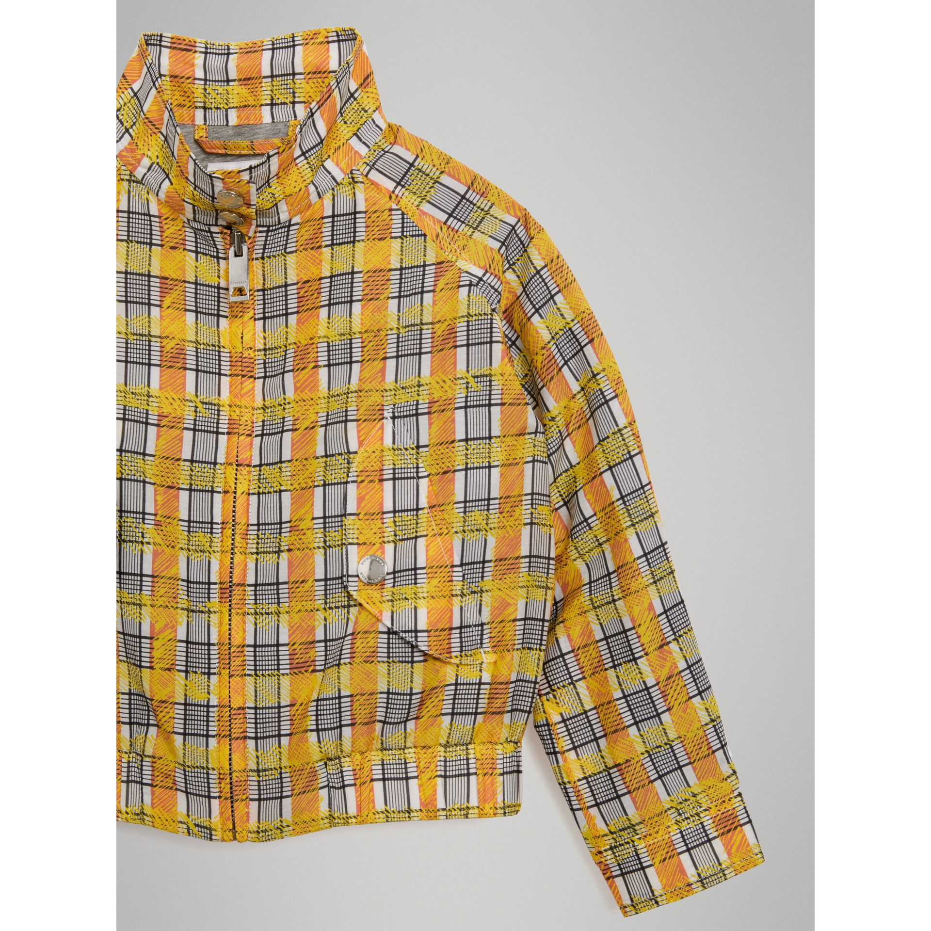 Scribble Check Cotton Silk Harrington Jacket in Bright Yellow | Burberry - gallery image 4