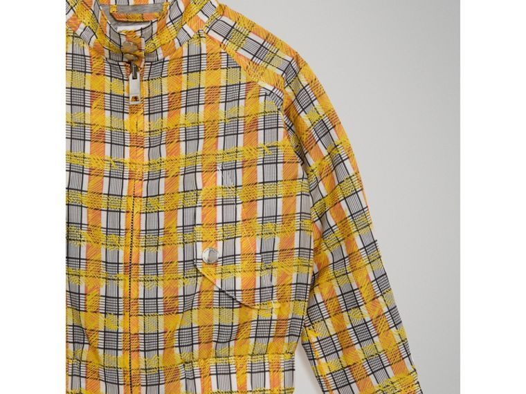 Scribble Check Cotton Silk Harrington Jacket in Bright Yellow - Girl | Burberry - cell image 4