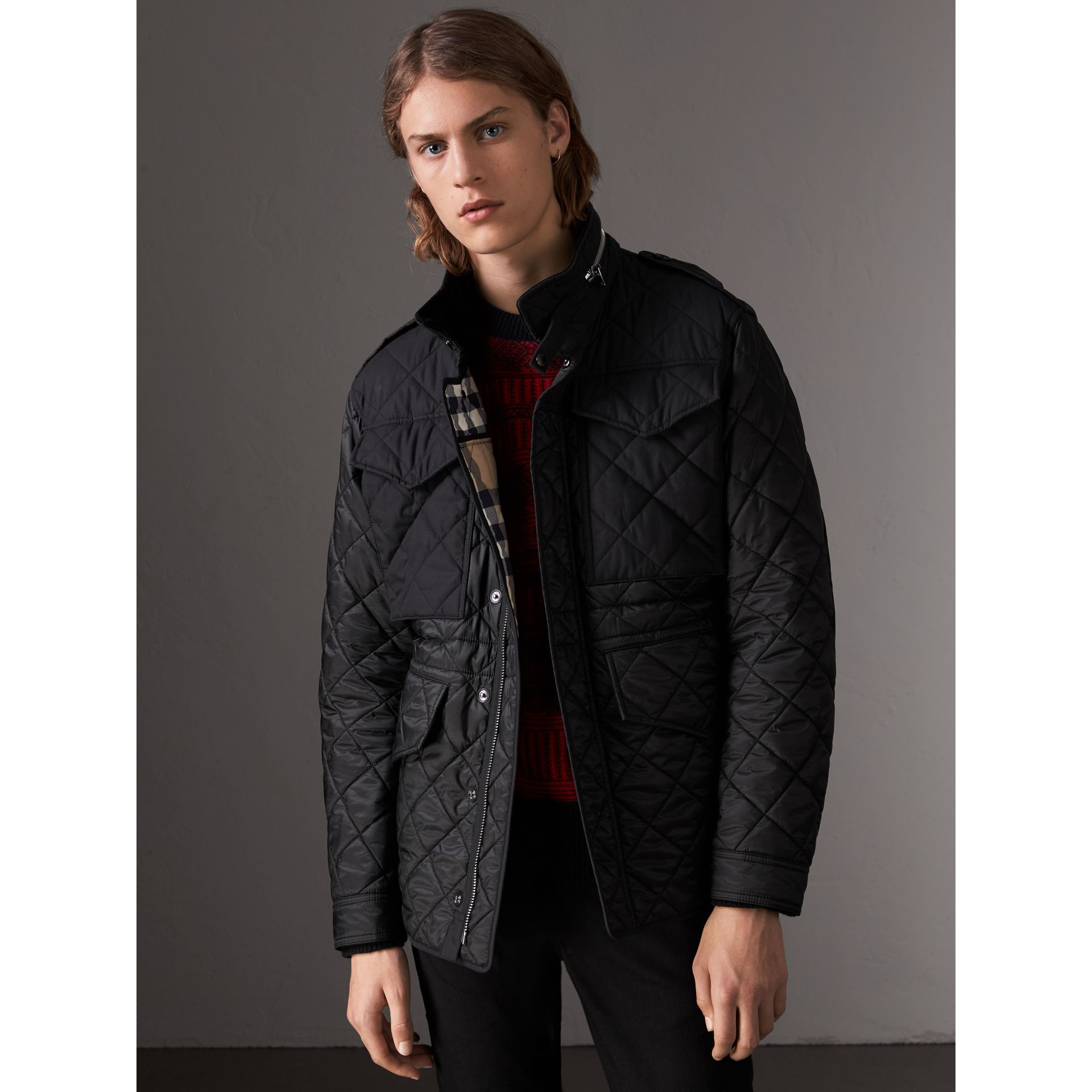 Packaway Hood Diamond Quilted Field Jacket in Black - Men | Burberry United Kingdom - gallery image 1
