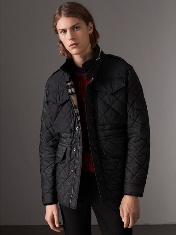 Packaway Hood Diamond Quilted Field Jacket in Black