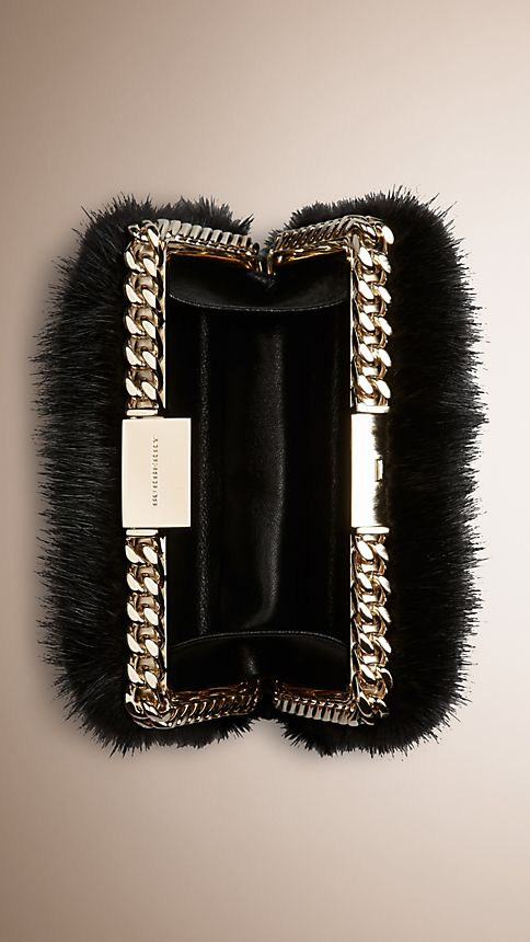 Black Chain-Detail Mink Box Clutch - Image 5