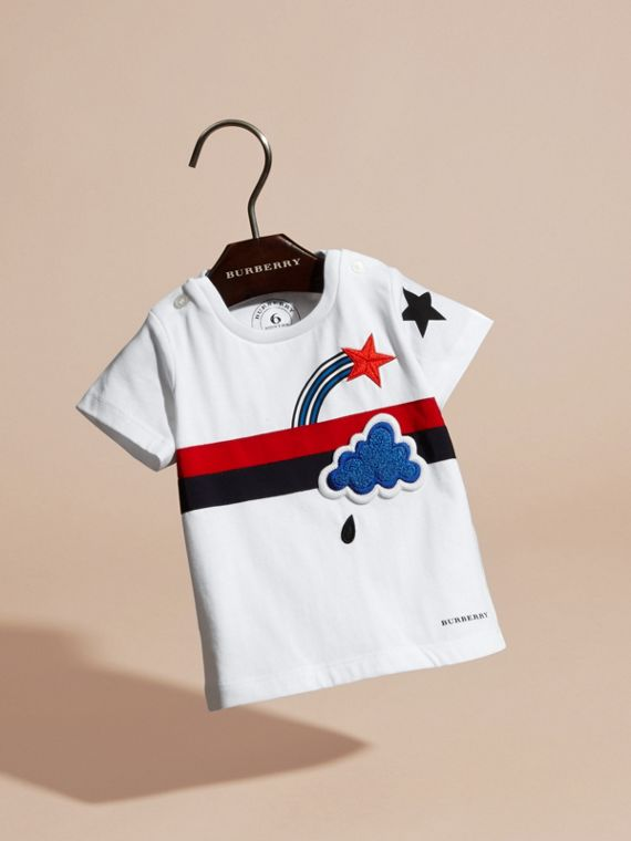 White Appliquéd and Embroidered Weather Graphic Cotton T-Shirt - cell image 2