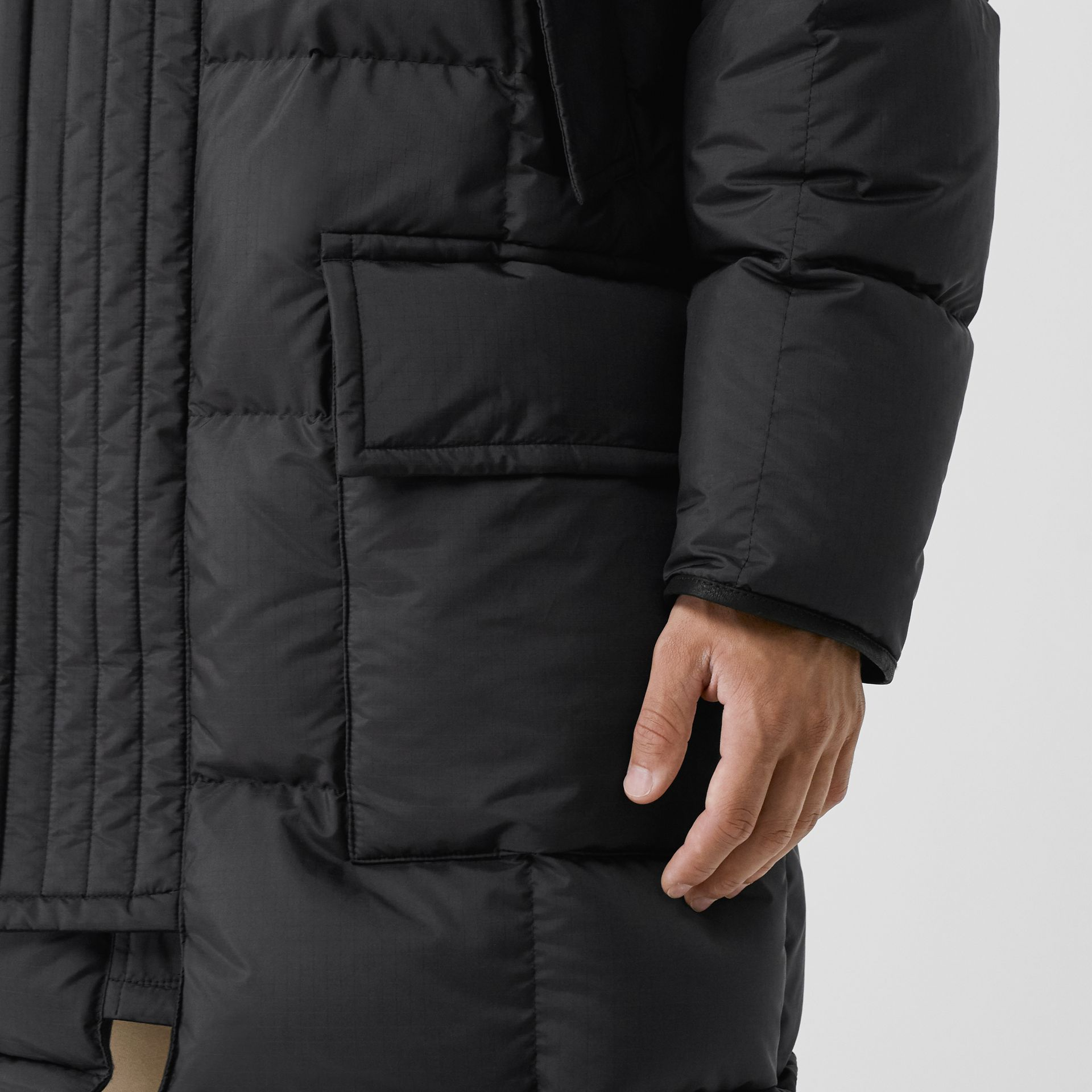 Faux Fur Trim Down-filled Hooded Parka in Black - Men | Burberry - gallery image 4