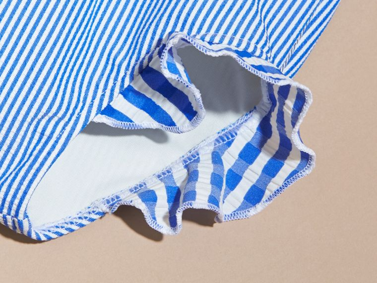 One-piece Striped Swimsuit with Check Ruffles in Brilliant Blue/white | Burberry - cell image 1
