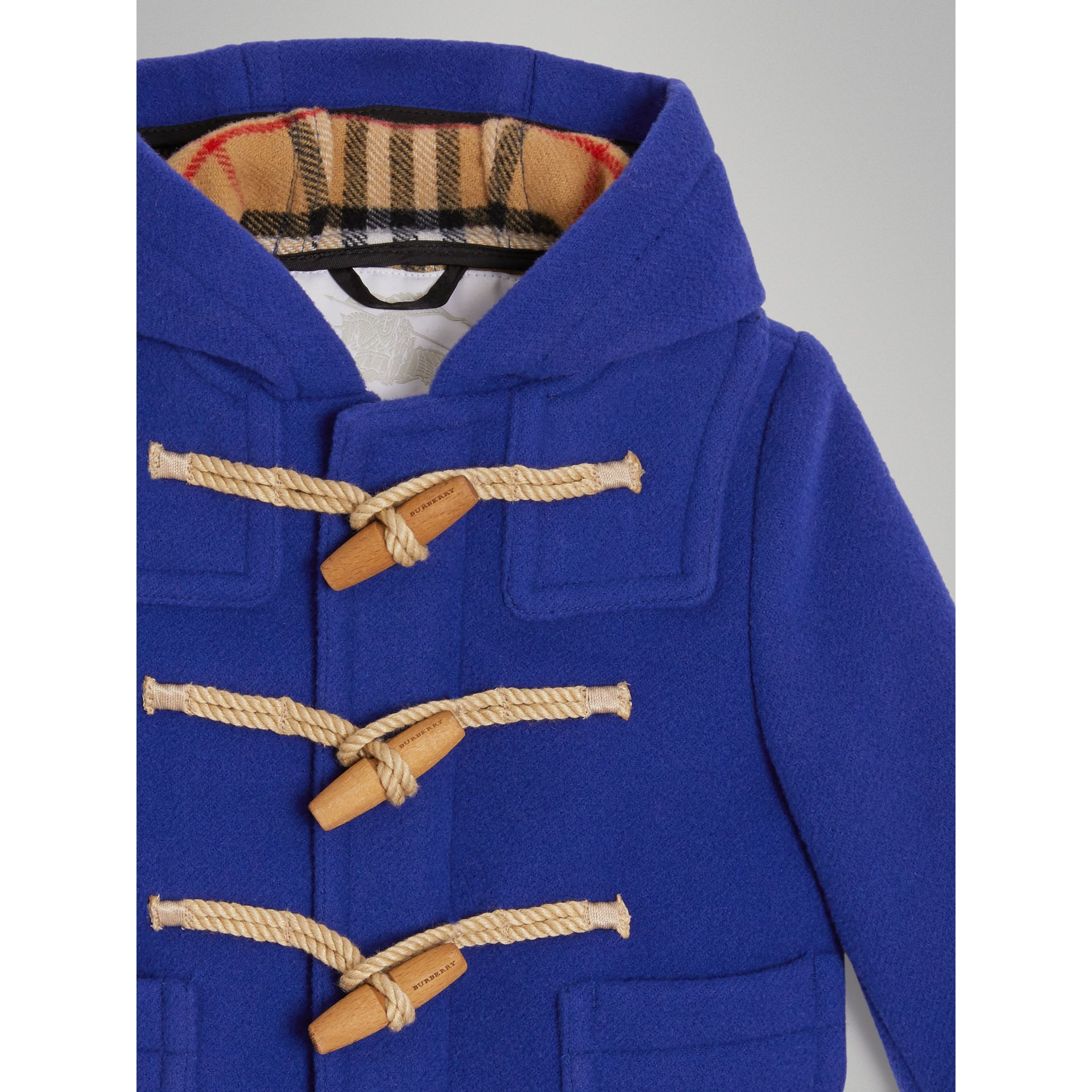 Boiled Wool Duffle Coat in Brilliant Blue - Children | Burberry United States - gallery image 4