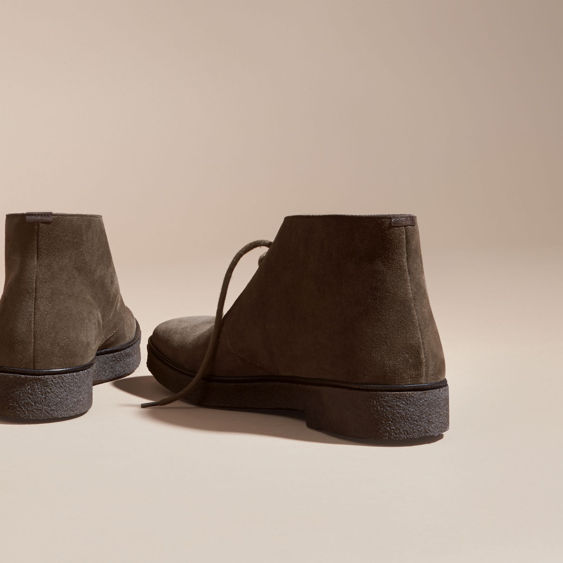 Crepe Sole Suede Desert Boots in Khaki - gallery image 4