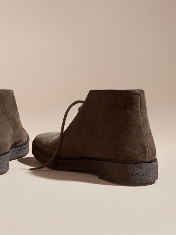 Crepe Sole Suede Desert Boots in Khaki - cell image 3