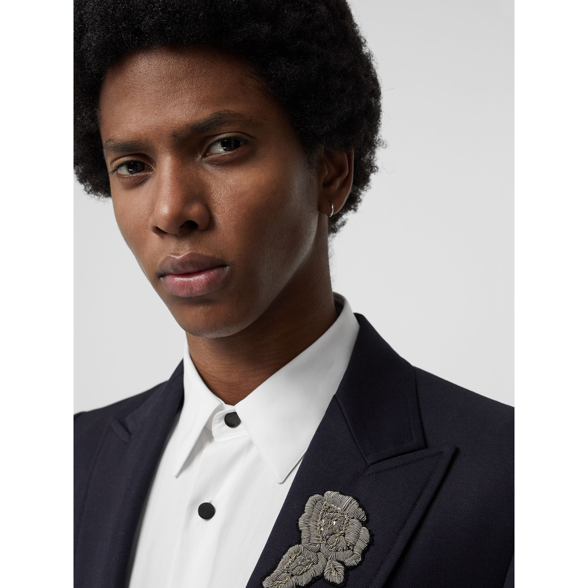 Slim Fit Bullion Floral Wool Gabardine Blazer in Black - Men | Burberry Singapore - gallery image 1