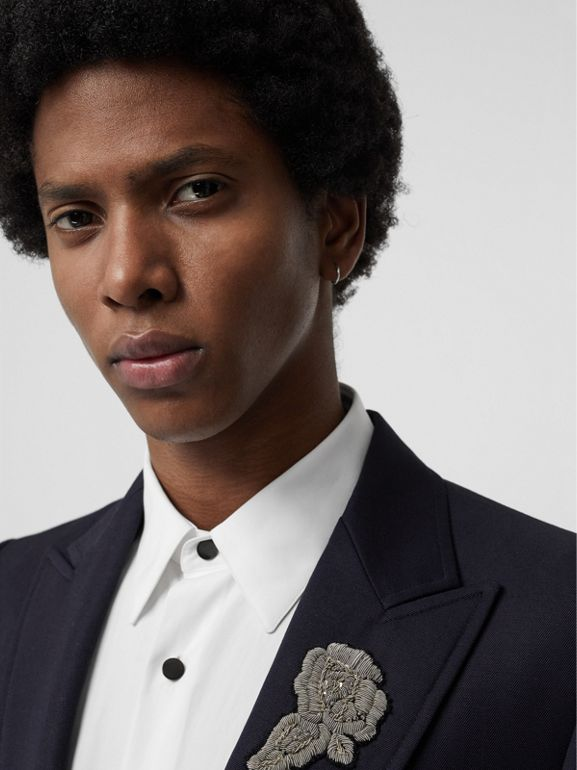 Slim Fit Bullion Floral Wool Gabardine Blazer in Black - Men | Burberry - cell image 1
