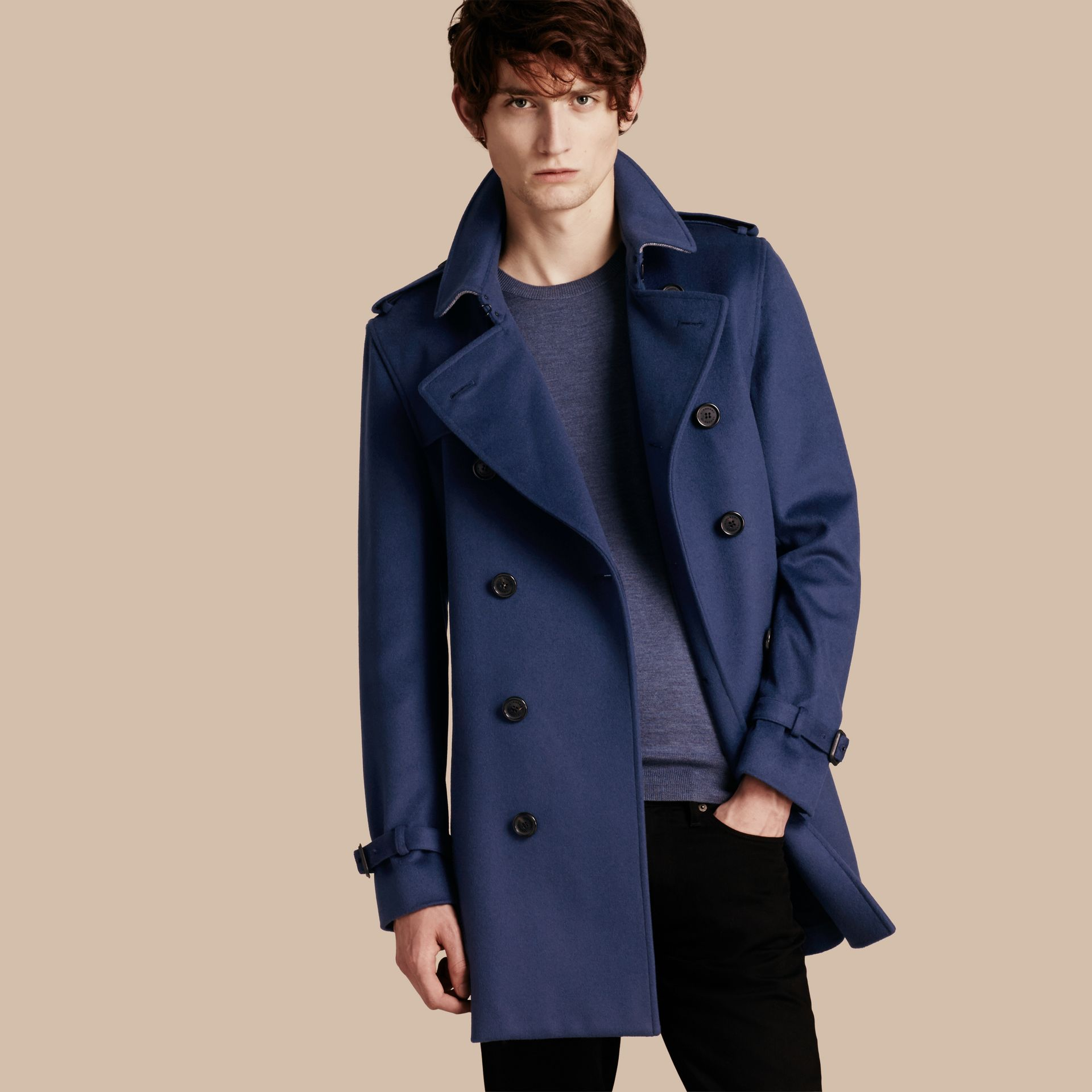 Bright steel blue Wool Cashmere Trench Coat - gallery image 1