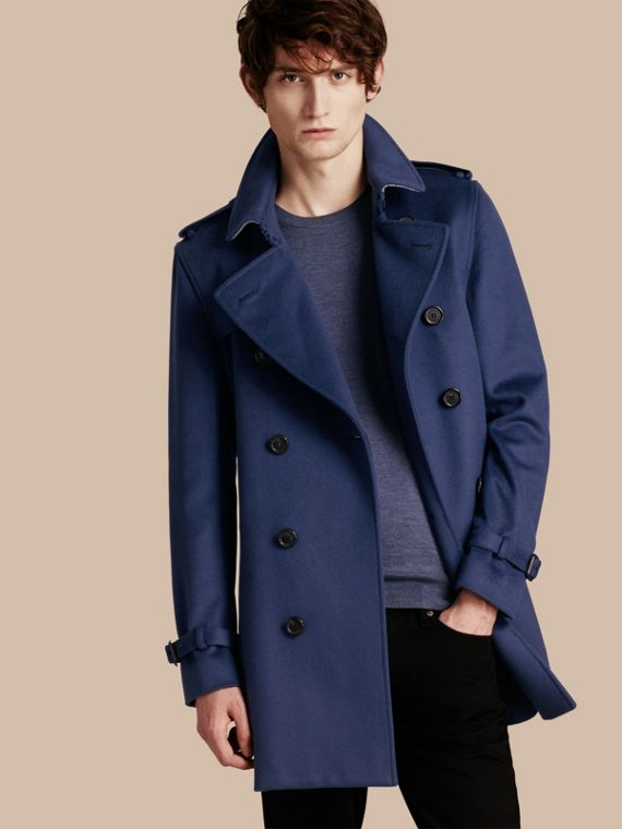 Trench coat in lana e cashmere Blu Acciaio Intenso