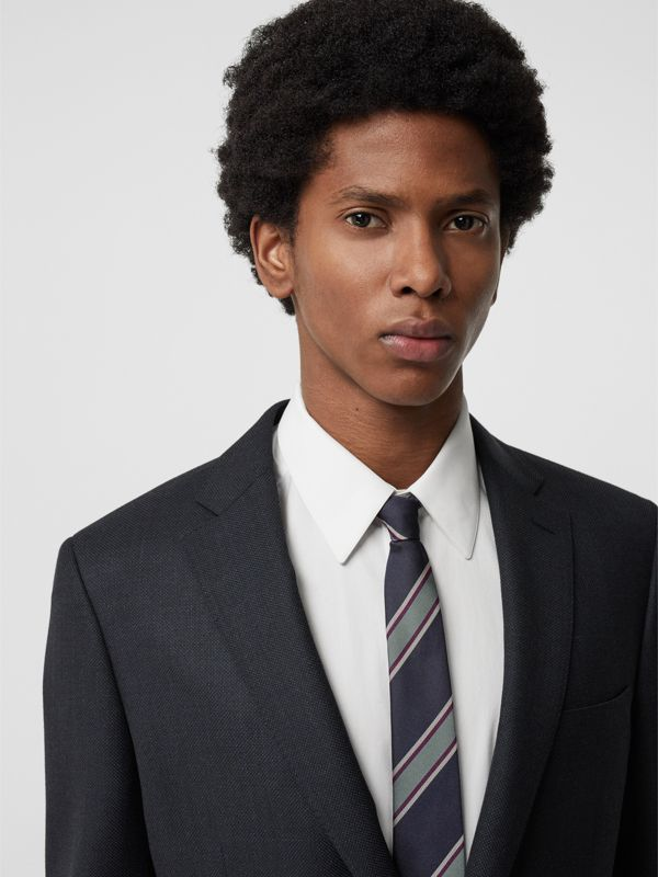 Slim Cut Striped Silk Jacquard Tie in Dark Indigo Blue - Men | Burberry United Kingdom - cell image 2