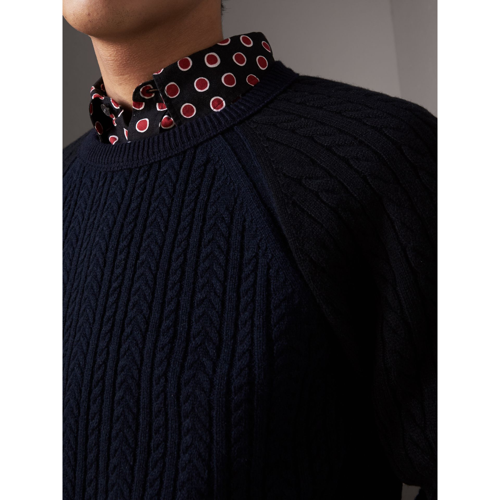 Two-tone Cable Knit Cashmere Sweater in Navy - Men | Burberry - gallery image 2