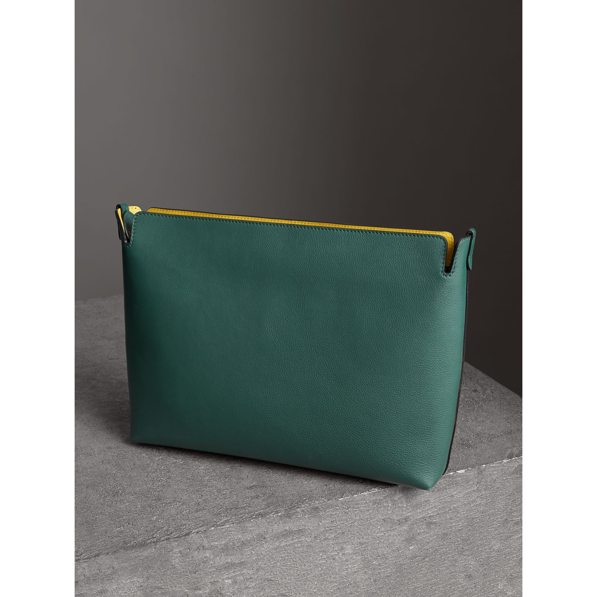 Large Tri-tone Leather Clutch in Black/sea Green | Burberry - gallery image 4