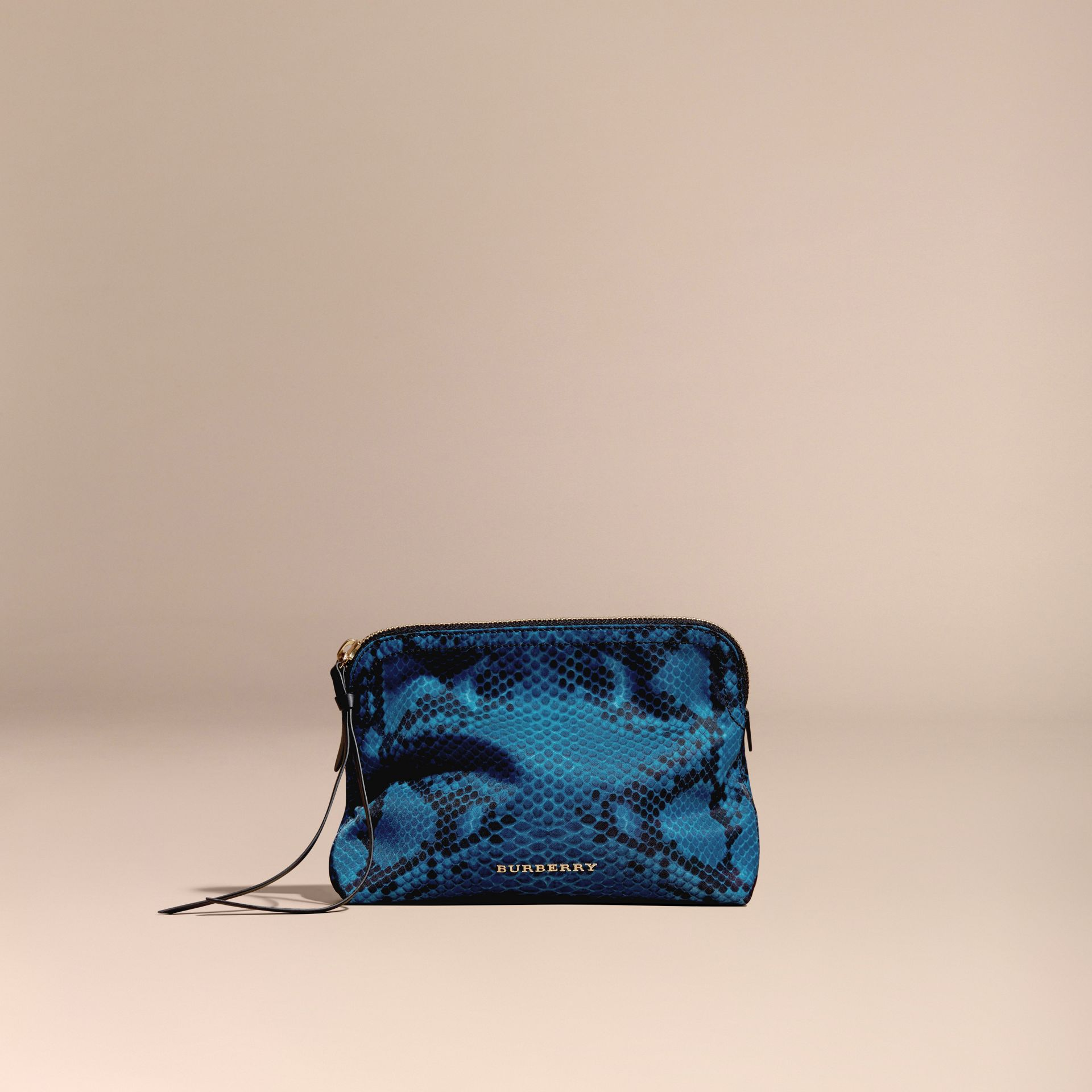 Large Zip-top Python-print Technical Nylon Pouch Mineral Blue - gallery image 6