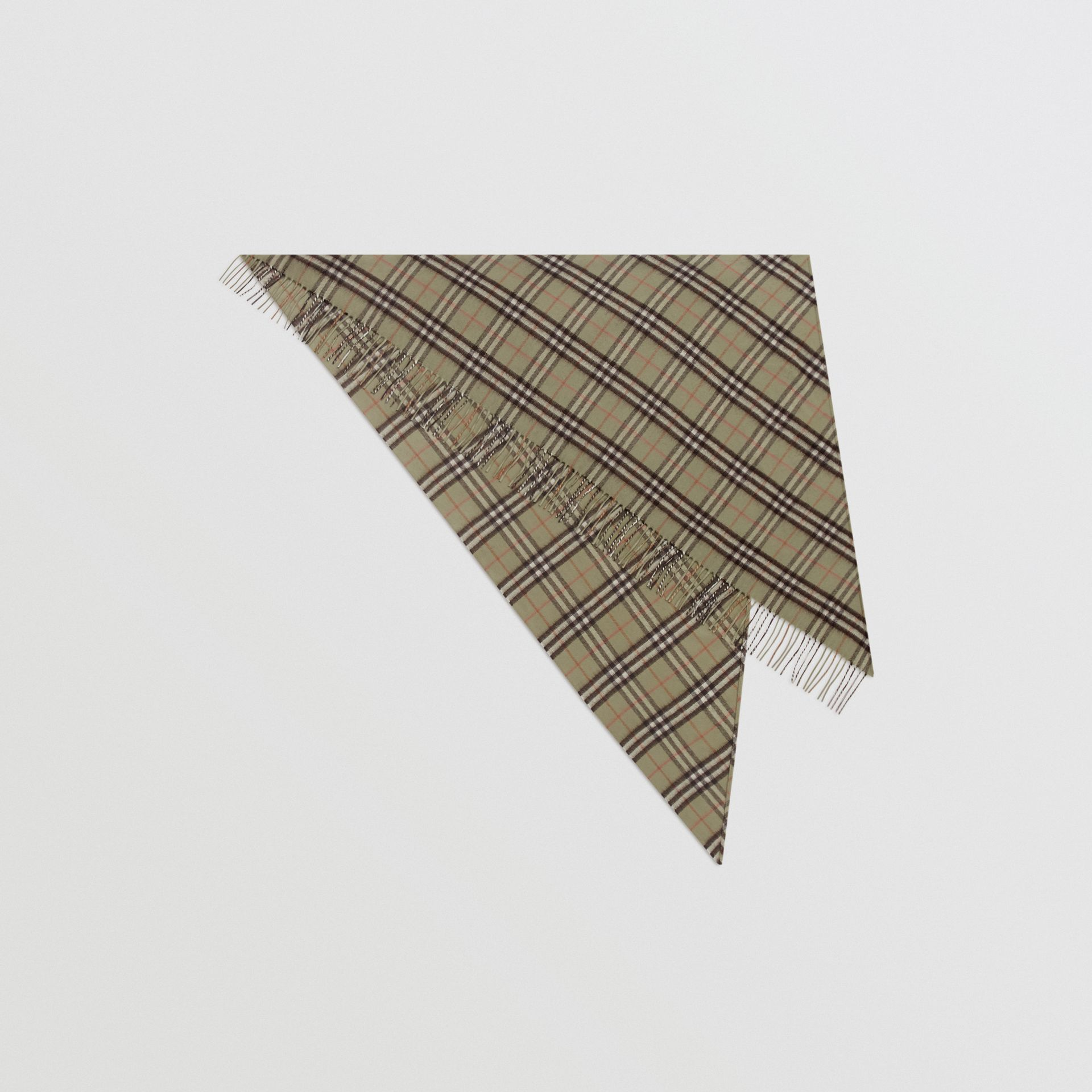 The Burberry Bandana in Check Cashmere in Pale Powder Green | Burberry United Kingdom - gallery image 0