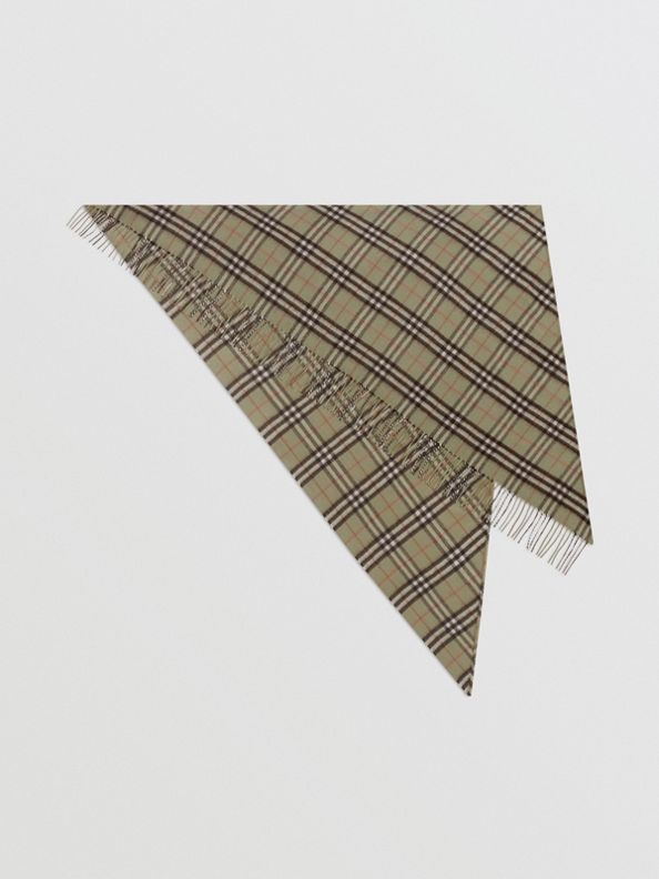 The Burberry Bandana in Check Cashmere in Pale Powder Green