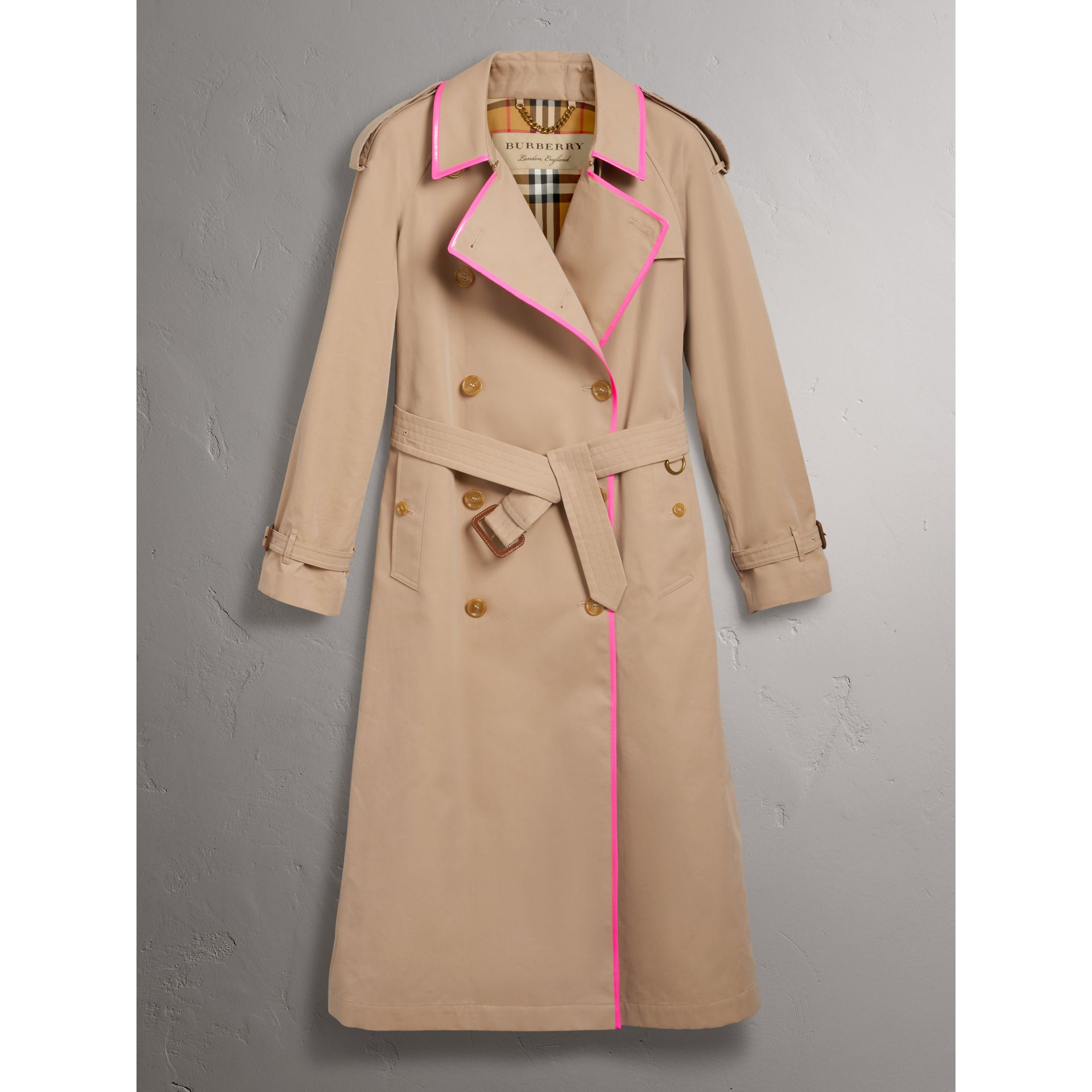 Tape Detail Cotton Gabardine Trench Coat in Honey - Women | Burberry United Kingdom - gallery image 3