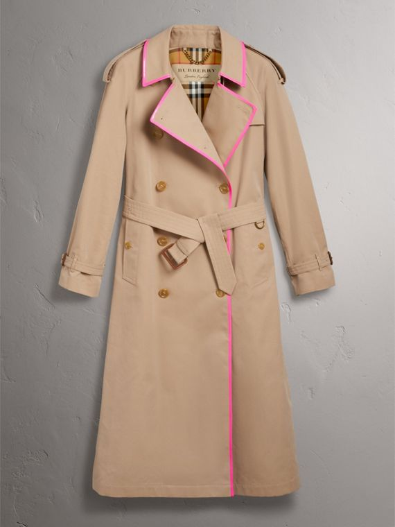 Tape Detail Cotton Gabardine Trench Coat in Honey - Women | Burberry - cell image 3