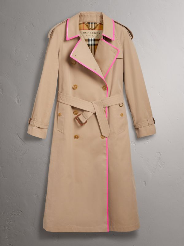 Tape Detail Cotton Gabardine Trench Coat in Honey - Women | Burberry United Kingdom - cell image 3