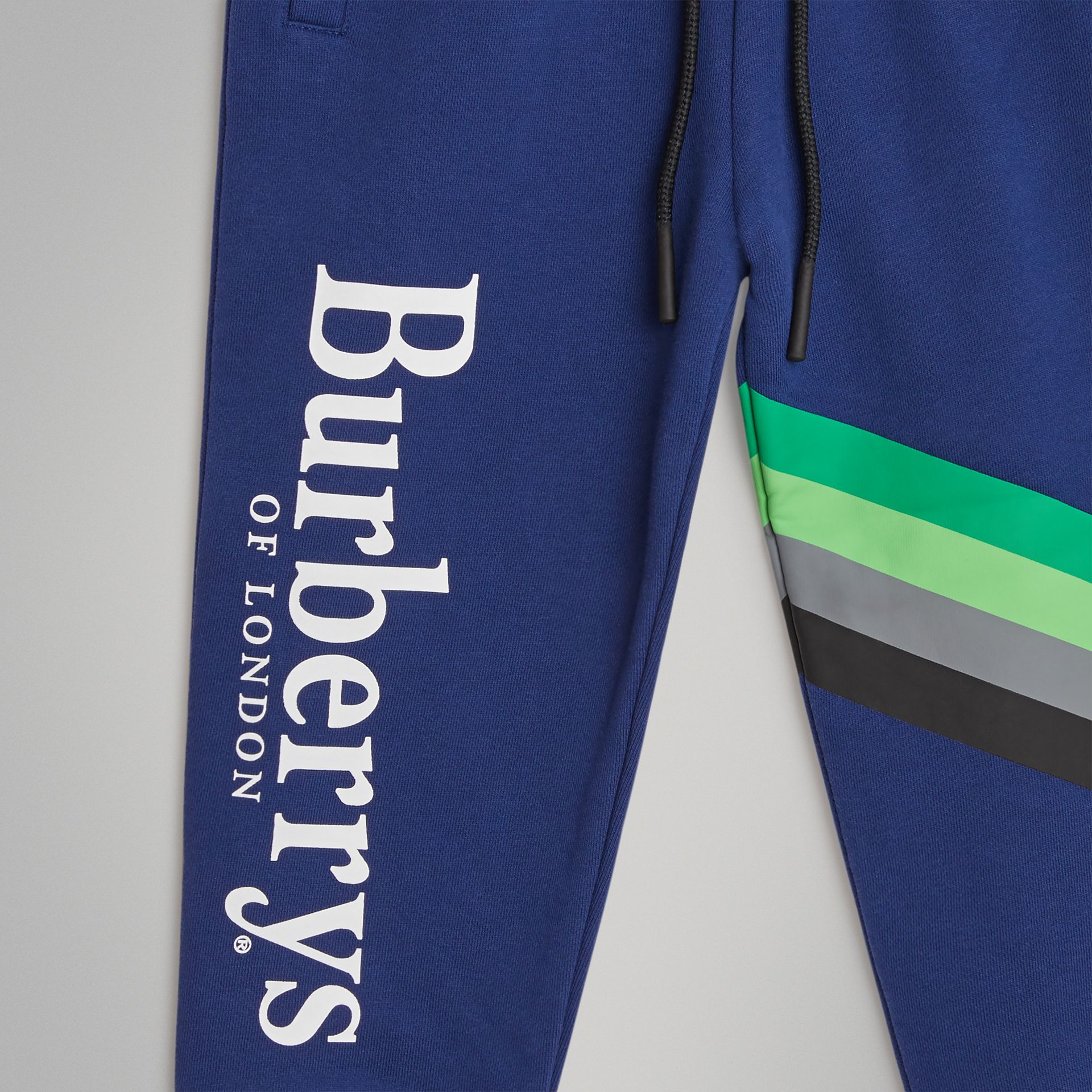 Archive Logo Print Cotton Trackpants in Canvas Blue | Burberry United Kingdom - gallery image 4
