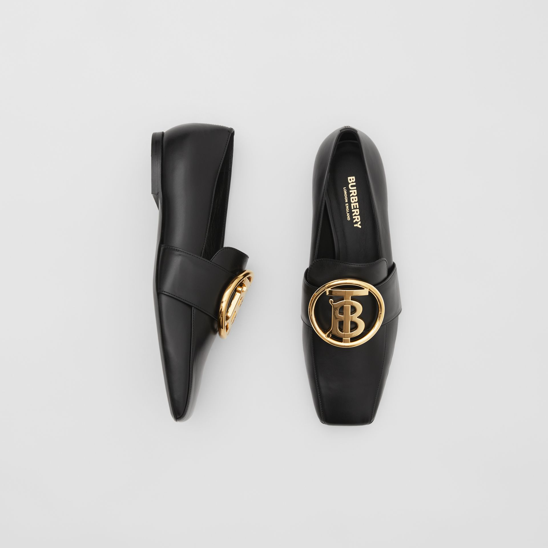 Monogram Motif Leather Loafers in Black - Women | Burberry United Kingdom - gallery image 0