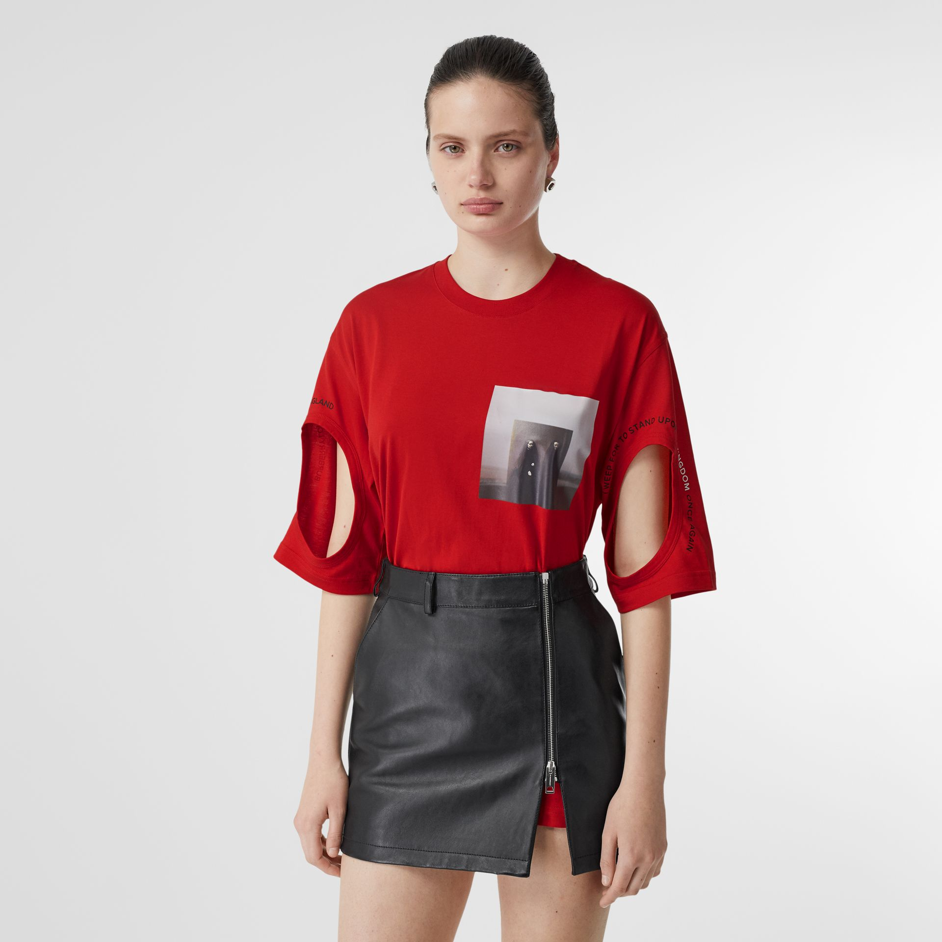 Cut-out Detail Montage Print Oversized T-shirt in Bright Red - Women | Burberry United Kingdom - gallery image 0