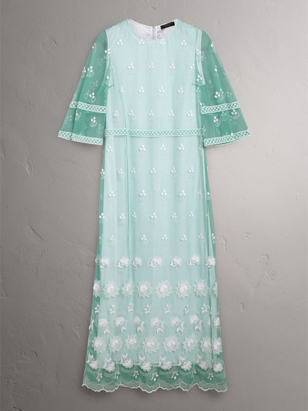 Flare-sleeve Embroidered Tulle Dress in Aqua Green/white - Women | Burberry - cell image 3
