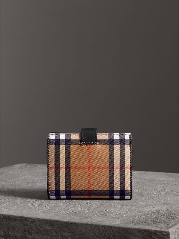 Small Vintage Check and Leather Folding Wallet in Black - Women | Burberry Hong Kong - cell image 2