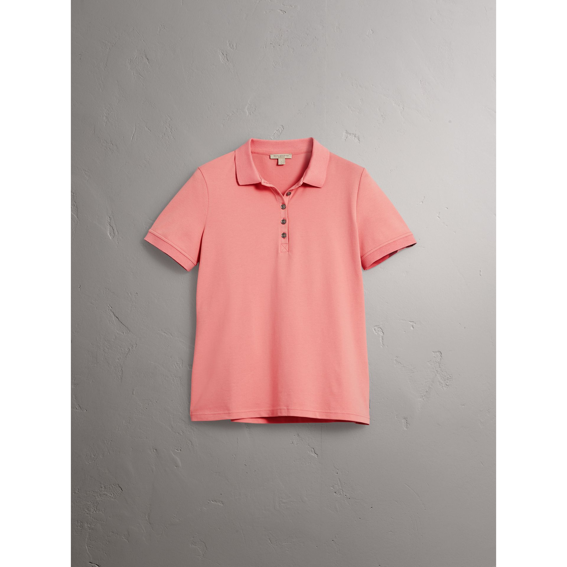 Check Trim Stretch Cotton Piqué Polo Shirt in Carnation Pink - Women | Burberry - gallery image 3